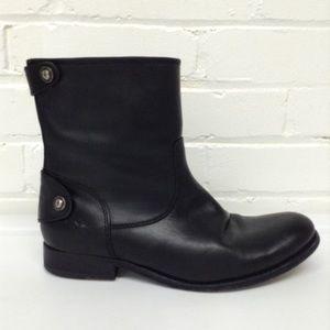 Frye Black Leather Biker Ankle Boots Size 6